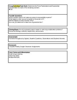 6th Grade CMP3 Lesson Plan - Prime Time 4.4b - Workshop Model