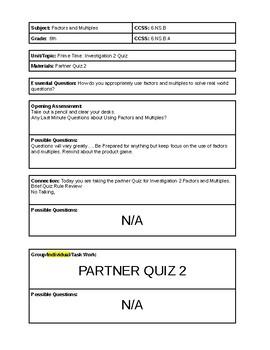6th Grade CMP3 Lesson Plan - Prime Time - Quiz 2 - Partner Quiz