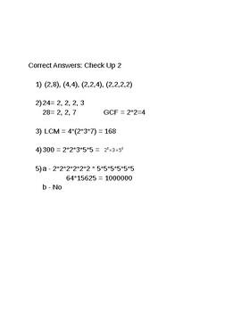 6th Grade CMP3 Lesson Plan - Prime Time - Quiz 3 - Check Up 2