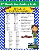 6th Grade COMPLETE YEAR of Vocabulary Lists