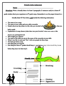 6th Grade Camp - Follow-Up Friendly Letter
