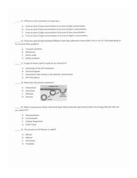 6th Grade Cells Unit Test