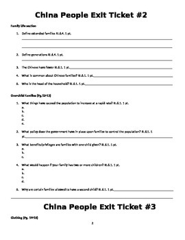 6th Grade China the People Formative Assessment Questions/Exit Tickets