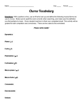 6th Grade Chorus Vocabulary