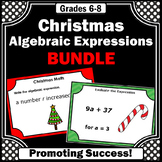 6th Grade Christmas Math Centers Games with  6th Grade Algebra Task Cards