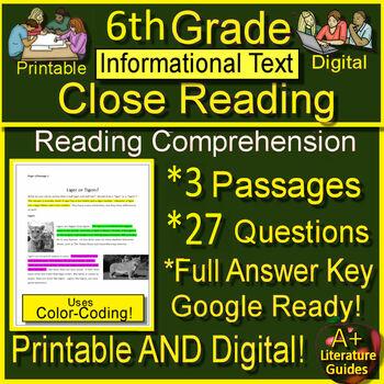 Text Evidence Grade 6 Close Reading Informational Bundle Passages Google Option