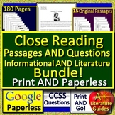 6th Grade Reading Comprehension Close Reading Bundle - PRINT AND PAPERLESS!