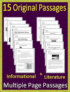 6th Grade Reading Comprehension Passages and Questions Close Reading Bundle