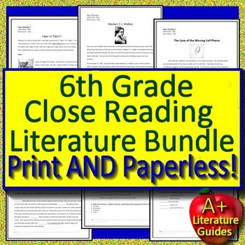 6th Grade Close Reading Literature Bundle Passages with Google Drive Option