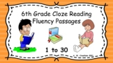 6th Grade Cloze Reading Fluency Passages - Sets 1 to 30 (G