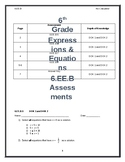6th Grade Common Core 6.EE.B Expression and Equations Assessments
