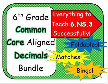 6th Grade Common Core Aligned Decimals Bundle