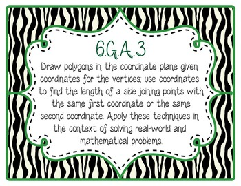 6th Grade Common Core CCSS Labels and Posters Math and ELA-Zebra Print
