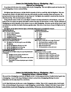 6th Grade Common Core Daily Reading Warm-Up Thanksgiving
