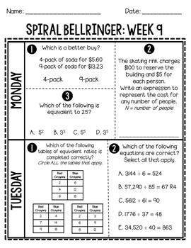 6th Grade TNReady/CCS Daily Spiral Bellringer Review Quarter 2