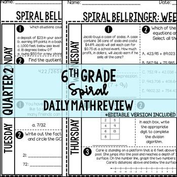 6th Grade Common Core Daily Spiral Review/Bellringer Quarter 2