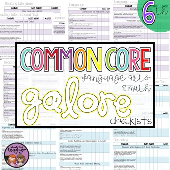 Common Core Data Checklists ELA and Math 6th Grade