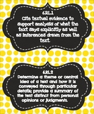 6th Grade Common Core ELA Standards Posters - Black and Yellow