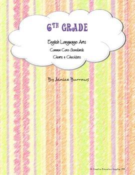 6th Grade Common Core English Language Arts Charts & Checklists