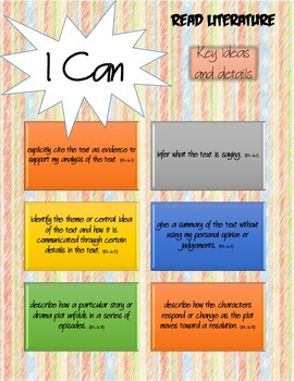 "6th Grade Common Core English Language Arts ""I Can"" Statements"