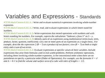 6th Grade Common Core Expressions and Equations Notes