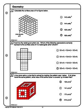 6th Grade Common Core Geometry Practice Booklet