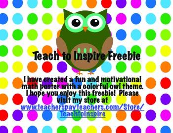 Owl Themed Motivational Math Poster