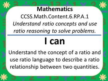 "6th Grade Common Core ""I Can"" Statements for Mathematics"