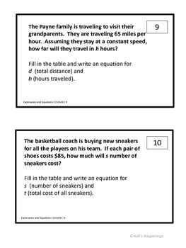 6th Grade Common Core Independent and Dependent Variables Task Cards