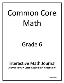 6th Grade Common Core Interactive Math Journal