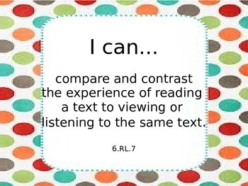 6th Grade Common Core Learning Targets for Reading Literature
