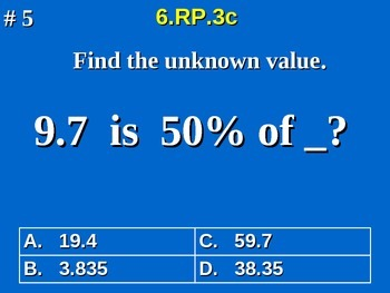 6th Grade Common Core Math 6.RP.3c Find The Whole From A Percent