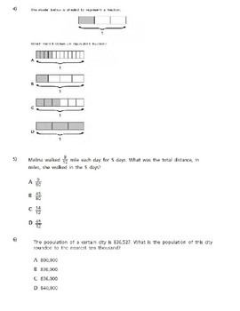 Special Education 6th Grade Common Core Math Word Problems Probe