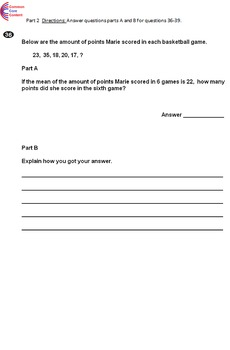 6th Grade Common Core Math Assessment - Form A - Mirrors Common Core State Test.