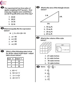 6th Grade Common Core Math Assessment - Form B - Mirrors C