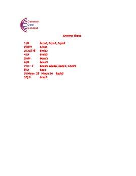 6th Grade Common Core Math Assessment SHORT Form A (10 Questions) Sixth Grade