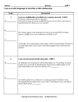 6th Grade Math Assessment with Learning Goals and Scales - EDITABLE