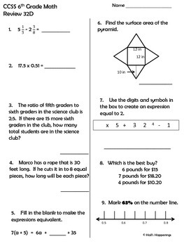 6th Grade Common Core Math Daily Review Weeks 31-35