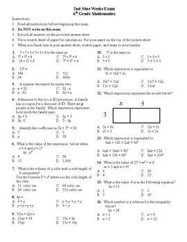 6th Grade Common Core Math Exams and Review Material