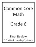 6th Grade Common Core Math Final Review Worksheets