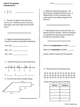 Common core worksheets math 6th grade