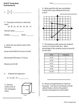 Free common core math worksheets for 6th grade