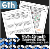 Sixth Grade FULL YEAR Math Practice or Homework Sheets Bundle
