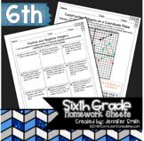 Sixth Grade Math Practice or Homework Sheets Bundle