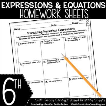 Sixth Grade Math Homework Sheets- Expressions and Equations