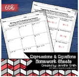 Sixth Grade Math Homework Sheets- Expressions and Equations