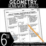 Sixth Grade Math Homework Sheets - Geometry