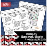 Sixth Grade Math Homework Sheets - Geometry