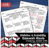 Sixth Grade Math Homework Sheets- Statistics and Probability