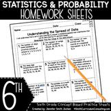 Sixth Grade Math Homework Sheets- Statistics and Probability